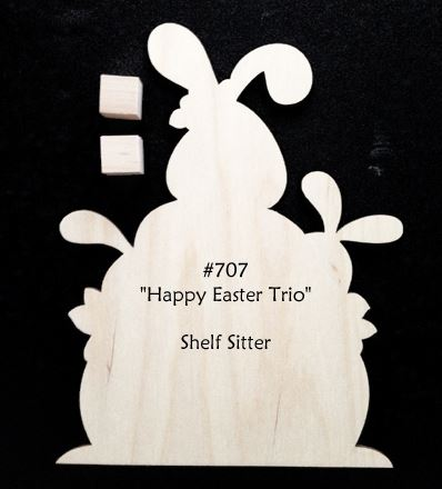 #707 Happy Easter Trio (WOOD)