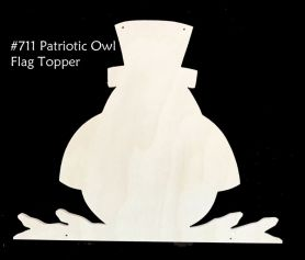 #711 Patriotic Owl Topper  (WOOD)
